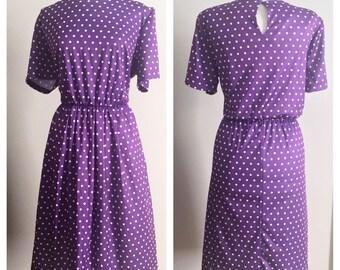 Purple Polkadot Dress // Anthony Richards Polyester // Plus Size Vintage Dress