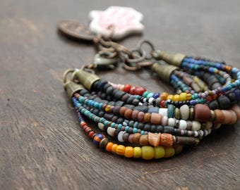 Ombre and Darkness -  Stacking Buddha Charm Bracelet - Multistrand Boho Hippie Nomad
