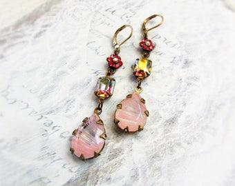 Triple Pink,Vintage Pink Swirled Glass Teardrops,Crown Setting,Swarovski Aurora Borealis Rhinestone &Flower Earrings, Hollywood Hillbilly