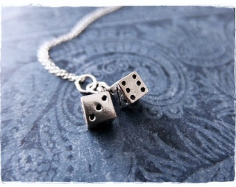 Silver Movable Dice Necklace - Sterling Silver Movable Dice Charm on a Delicate Sterling Silver Cable Chain or Charm Only