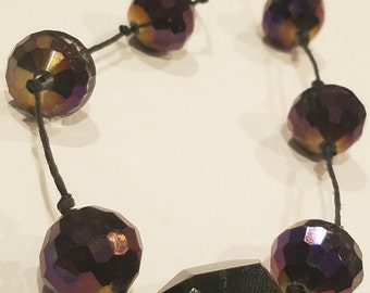 Faceted Crystal Necklace in Plum and Black
