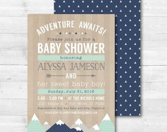 ADVENTURE Baby Shower Invitation, Adventure Awaits, Tribal Mountain Boy Woodland Baby Shower, Rustic Baby Boy Printable 5x7