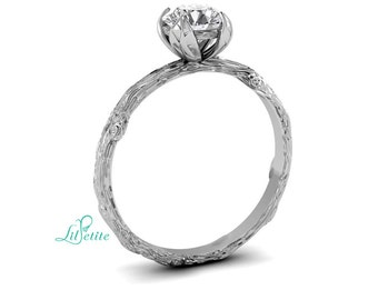 Leaf Setting Engagement Ring | Unique 14k White Gold Twig and Leaf Ring | Non Diamond Alternative Ring