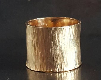 Wide Gold Band Ring, Valentine's Day Gift, Adjustable Wide Statement Ring, Unisex Cigar Band Ring, Handmade Rings