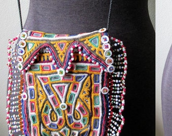 Antique Rabari Hand Mirror Embroidered Beaded Kutch Dowery Bag Purse