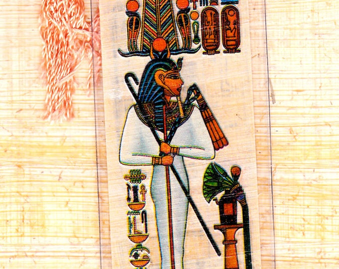 Geb-Egyptian God of the Earth Papyrus Bookmark. A unique, useful gift for every member of your family or for you!