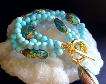 NEW! Multistrand Abalone and Robins Egg Blue Turquoise Beaded Bracelet with Toggle Clasp