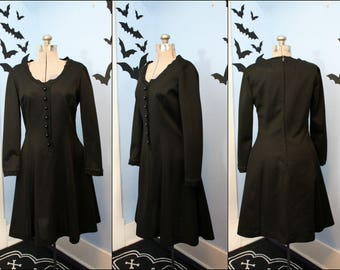 Vintage Womens 1960s Little Black Dress Modern Medium Large Mod Mad Men Goth Witchy