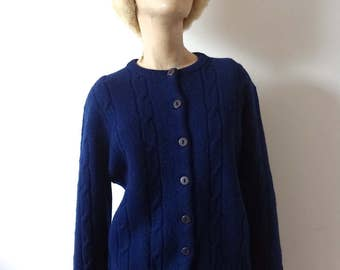 1960s Wool Sweater vintage navy cable knit cardigan by Garland