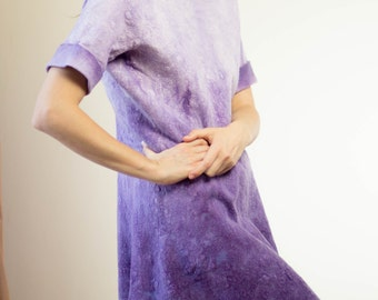 Cocktail Tunic, Loose Tunic, Purple Wool Dress, Oversized Tunic, New Years Eve Dress, Party Fashion Dress, Sexy Womens Dress, Ombre Dress