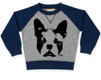 Boston Terrier Baby Sweatshirt, Boston Terrier Toddler Raglan Sweatshirt, Personalized Baby Jumper, Custom Baby Sweater, Toddler Clothes
