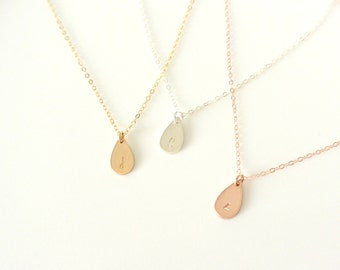 Teardrop Initial Necklace, Silver, Gold and Rose Gold Fill Necklace, Personalized Jewelry, Best Friend Necklace, Wife Jewelry, Gifts For Her