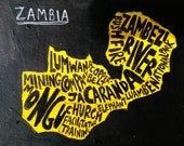 Zambia Map, acrylic paint, ink, original artwork, customizable size