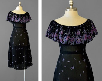 Vintage 70s Party Dress • Black Floral Dress • Chiffon Dress • 1930s Style • Off Shoulder Dress • Flutter Sleeve Dress • Fit and Flare Dress