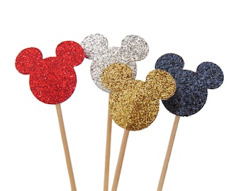 Glitter Mickey Mouse Cupcake Toppers, Food Picks, Toothpicks, 1st Birthday Party, Baby Shower Decorations - No721