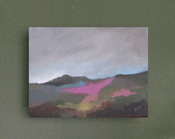 Summer Valley - Original Abstract Landscape Painting - Acrylic Painting - Original Abstract -  Green Landscape - canvas 9x12