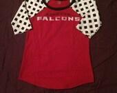 Atlanta Falcons Game Day Raglan Shirt Size Small Upcycled