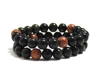 Black Obsidians Protection Healing Crystals Chakra Yoga Mala Bracelet Men Palm Wood Beads Bracelet, Mens Inspirational Jewelry for Husband