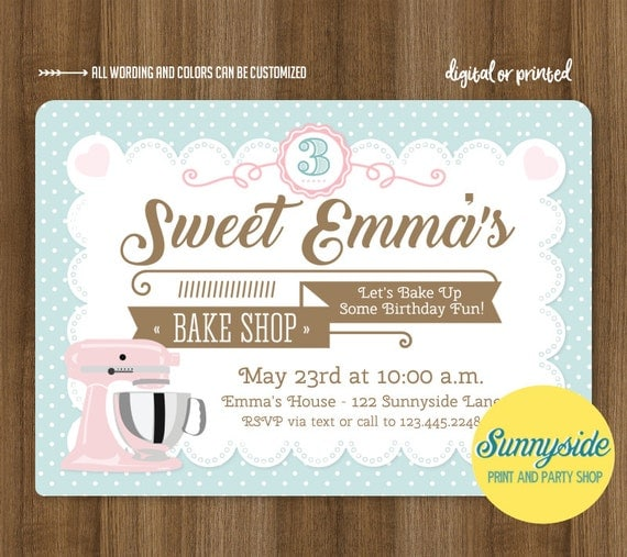 Baking birthday party invitation baking party invite bake shop il570xn stopboris Gallery