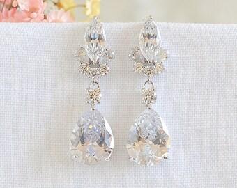 Bridal Earrings, Crystal Earrings, Wedding Dangle Drop Earrings, Crystal Marquise Teardrop Earrings, Wedding Bridal Jewelry Set, CLARISSE