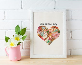 Love print ,You are my Gem Chic love prints wall art, Stones and minerals heart, first aniversary girlfriend gift bedroom art  TVH215WA4