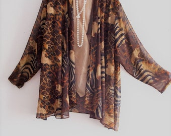 Animal Print Silk Chiffon Kimono Jacket
