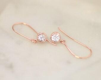 White Sapphire Rose Gold Dangle Earrings, Handmade Sapphire Earrings, Gemstone Jewelry Gift for Her