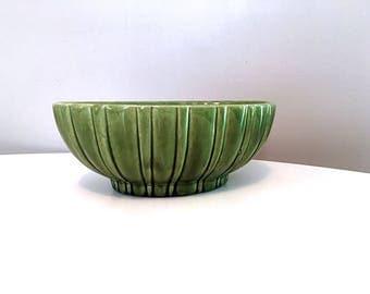 Mid Century Haeger Pottery Planter / Green Oval Planter  / Haeger USA Pottery Vase / Retro Green Pottery / Haeger Oval Pottery Bowl