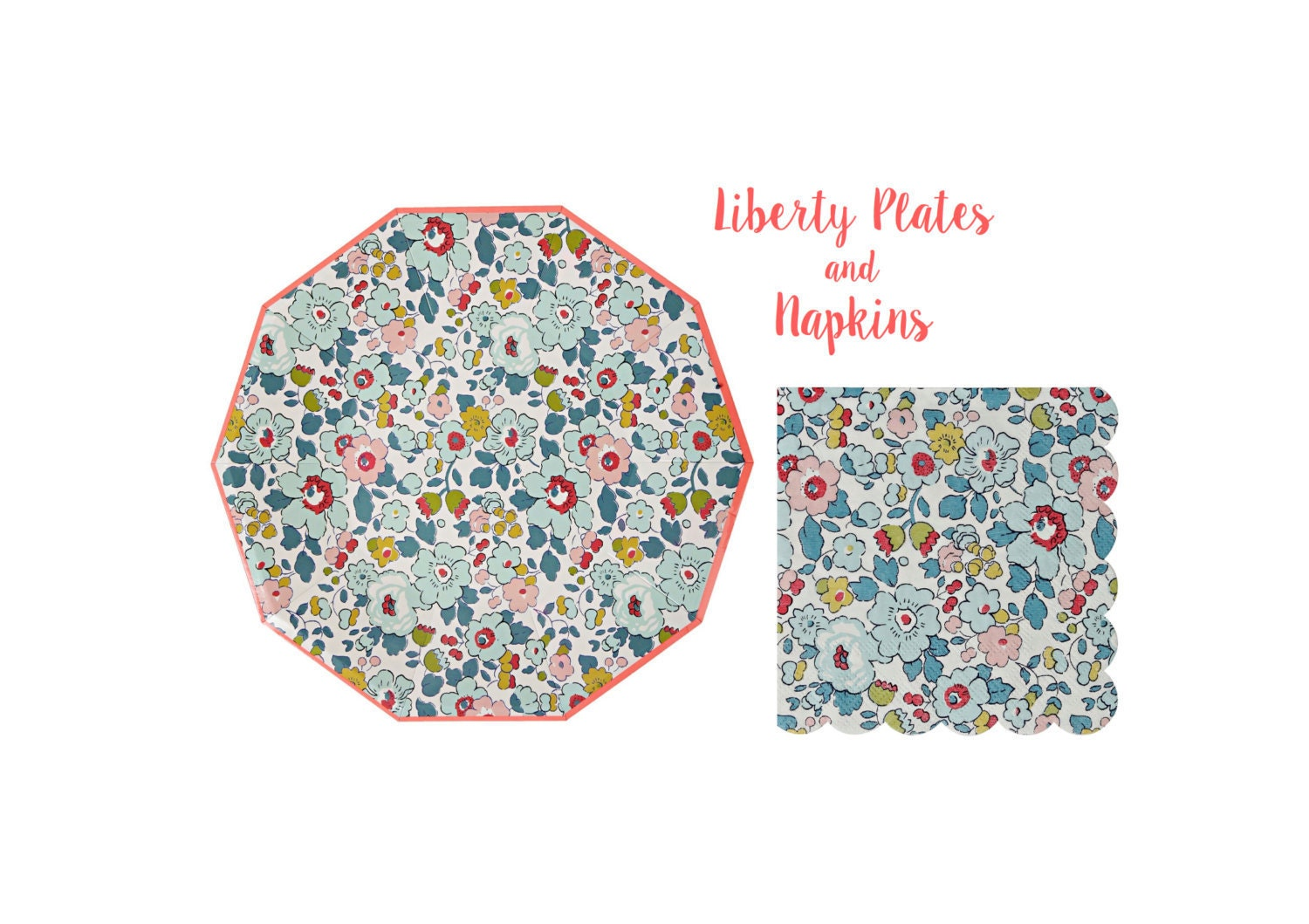 liberty paper plates and napkins by meri meri toot sweet. Black Bedroom Furniture Sets. Home Design Ideas