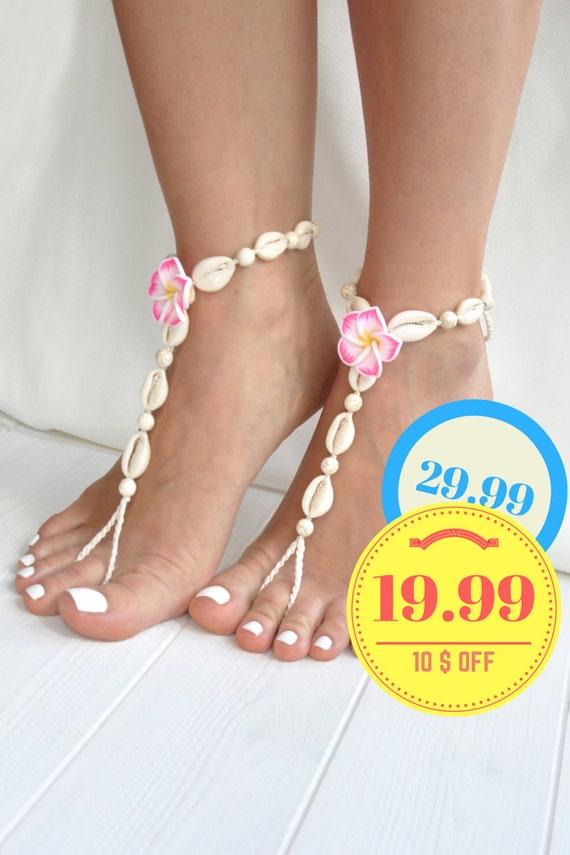 Barefoot Sandals- Flower and Seashells Barefoot Sandals- Boho Jewelry- Beach Wedding Barefoot Sandal- Foot Jewelry- Anklet- Seashell Jewelry