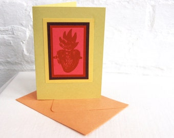 Heart Milagro Greeting Card Handmade Blank Note Card Sacred Heart Pink Valentine Religious Stationery Gift Card