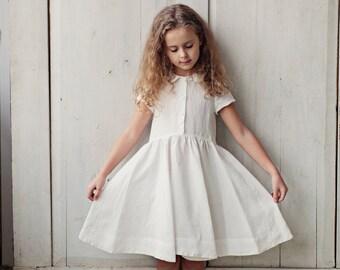 White Dress, Short Sleeve Dress, Kids Fashion, Handmade Dress, Children Clothing, Princess Girl Dress, Peter Pan Collar Dress