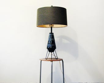 Large Mid Century Modern Black Ceramic Hairpin Lamp / Shade / Finial