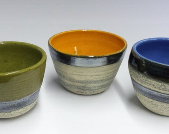 Handmade Ceramic Bowl - Cup - Bright Blue | Chrome with Black Washed Finish