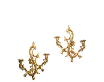 Gold Wall Sconces Gold Candle Holders Dart Wall Sconces Hollywood Regency Wall Sconces Set of 2