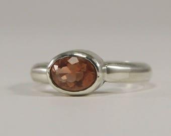 Oregon Sunstone Deep Pink Schiller Ring Size 4.75 in Sterling Silver 7x5mm, .7 carat #938