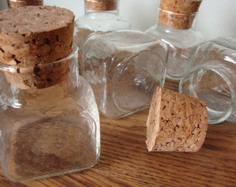 Libbey Korner Keepers  Collection of 7  Square Textured Glass Jars with Corks  Spice Jars
