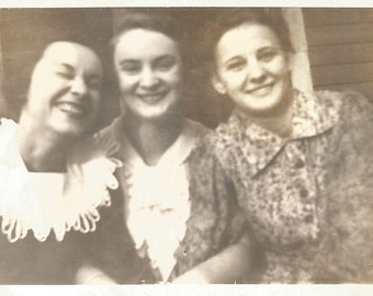 "Vintage Photo ""Good Sport"" Pretty Girl Laughing Closed Eyes Smiling Girlfriends Found Photo"