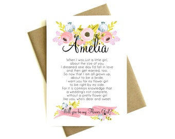 Personalized Will You Be My Flower Girl Poem - Custom Flower Girl Poem, Flower Girl Card, Flower Girl Gift, Be My Flower Girl Card