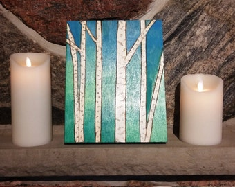 Rustic birch trees painting, Forest painting, Birch wall art, Birch décor, Rustic white birch painting, Rustic birch mantle art, Birch theme