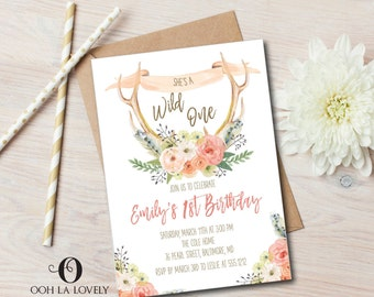 Boho Wild One First Birthday Invitation, Girl, First Birthday Invite, Printable, Floral, Watercolor, Birthday Party Invitation, Antlers