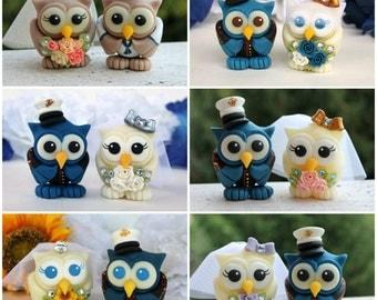 Wedding owl cake topper, military wedding cake topper, US Marine dress blues uniform groom, Australia Navy uniform, army cake topper