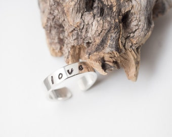 LOVE Ring Adjustable , Stamped Sterling Silver Ring, Band , adjustable ring , minimalist ring , minimalist jewelry , Valentine's day gift