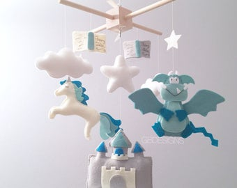 Baby mobile - Dragon mobile - baby mobile dragon - fairytale mobile  - unicorn mobile