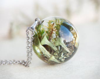 Lichen and Moss Sphere Necklace - whimsical green resin jewelry - unusual orb necklace