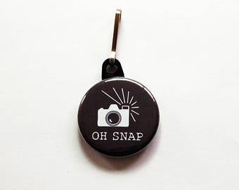 Camera bag charm, Zipper Pull, Photography Zipper Pull, Black, Purse Charm, Photographer, Photography Charm, Oh Snap (7526)