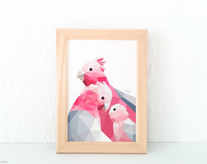 Galah cockatoo print, Pink and grey print, Lovebirds, Animal family, New baby nursery art, Baby room art, Australian bird, Galah parrot art