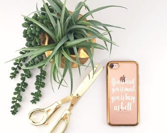 The help Cell phone case Gold rim i phone and galaxy caseiPhone Case, clear iPhone 7 case with gold edge iPhone 6 case, 6s, 6s Plus, 7 Plus,