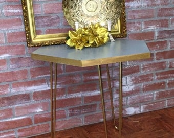 Mid Century Style Octagon Side Table Custom Painted Side Table Side Table With