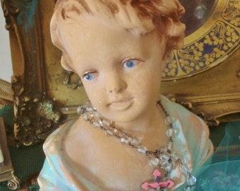 Vintage Lady Bust Statue Shabby Chippy French Farmhouse Maiden Girl 9 inch Very Old